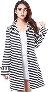 PENGFEI レインコートポンチョ 防水 ジャケット 観光 日焼け止め 通気性のある 防風、 ストライプ、 女性、 2色展開 (色 : Blue stripes, サイズ さいず : M)