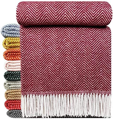 STTS International Wohndecke Wolldecke Decke Plaid Kuscheldecke 140 x 200 cm Wolle Milano Dunkelrot