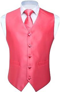 HISDERN Conjunto de Chaleco y Chaleco Jacquard de Color Liso para Hombre y Traje de Chaleco Cuadrado de Bolsillo