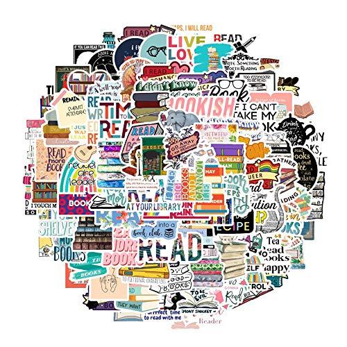 XXCKA Serie de hábitos de Lectura en Desarrollo, Pegatinas Mixtas de Dibujos Animados, Scooter, Bicicleta, teléfono móvil, portátil, Bolsa de Viaje, calcomanías, Adhesivo, 100 Uds.