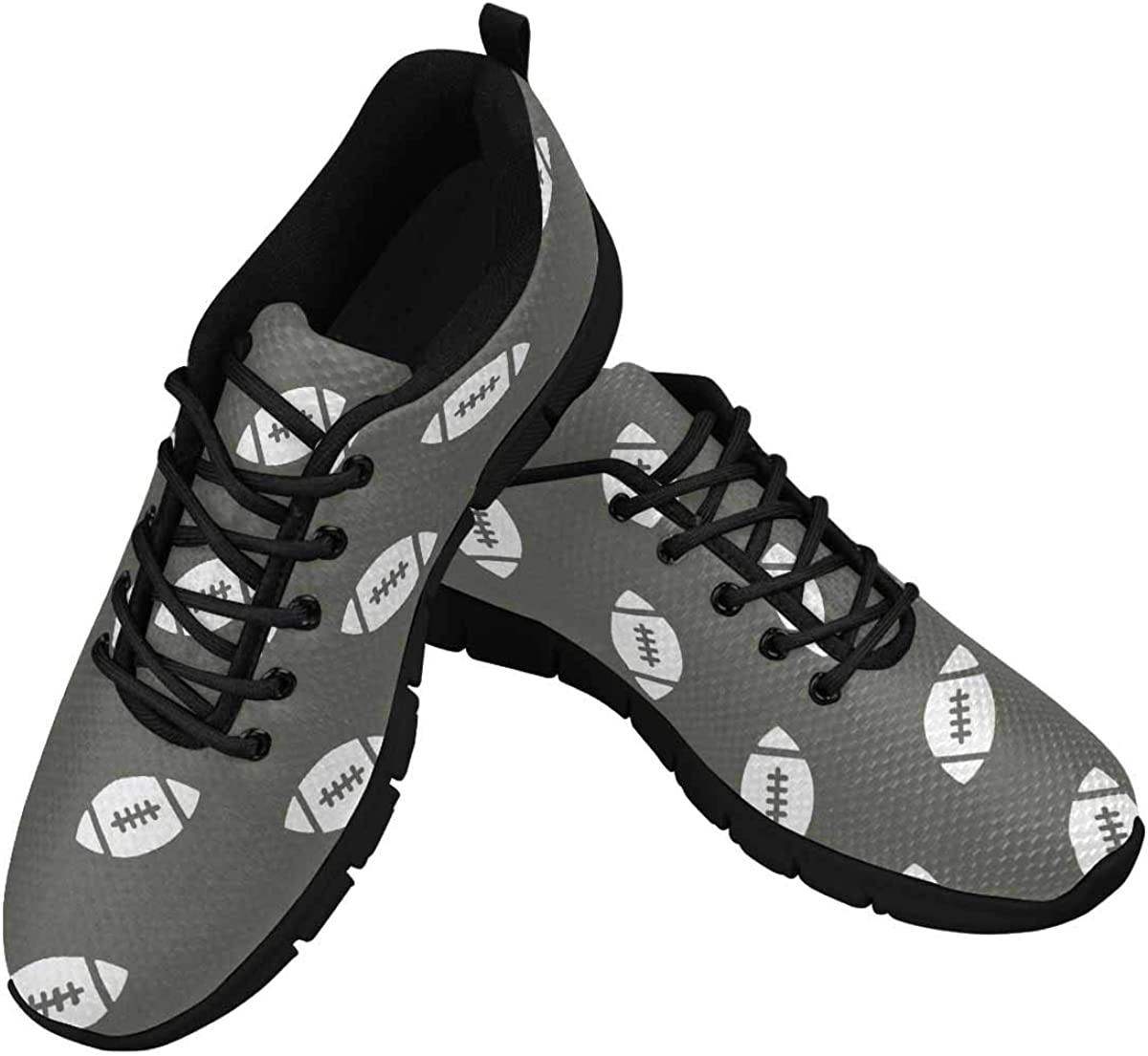 INTERESTPRINT American Football Grey Women's Athletic Mesh Breathable Casual Sneakers