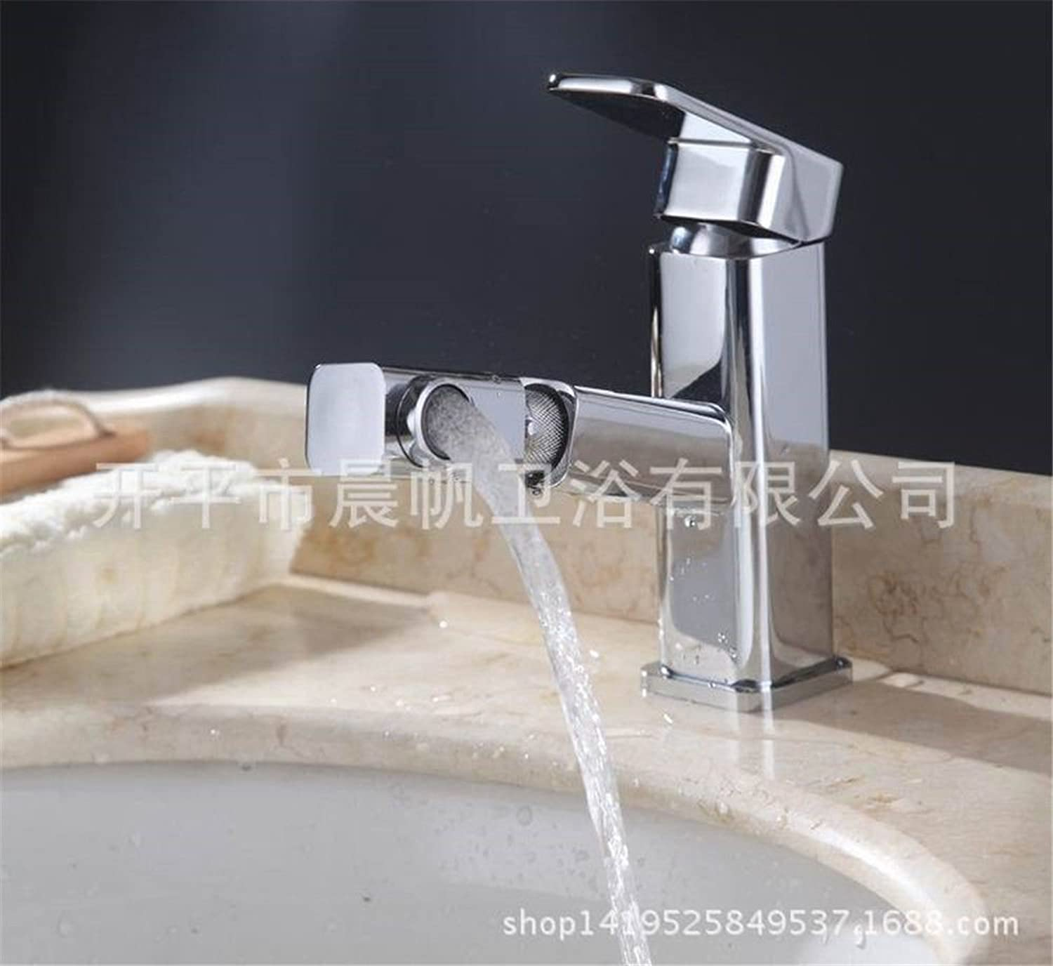 Lalaky Taps Faucet Kitchen Mixer Sink Waterfall Bathroom Mixer Basin Mixer Tap for Kitchen Bathroom and Washroom Pulling Square redation Hot and Cold
