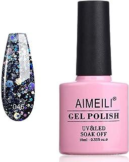AIMEILI Soak Off UV LED Gel Nail Polish - Diamond Glitter Amethyst Purple (046) 10ml