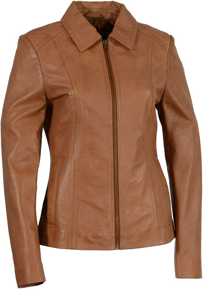 Milwaukee Leather SFL2850 Women's Black Leather Jacket with Shirt Style Collar