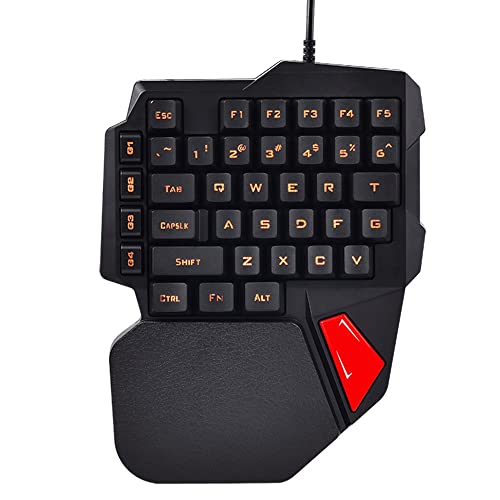 LexonElec Wired Gaming Keyboard K108 38 Keys 3 Colors LED Backlit USB Ergonomic Pro Gamer Left