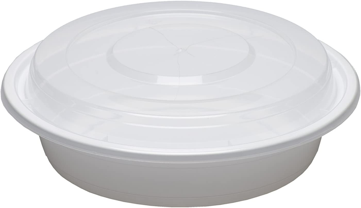 SafePro 24 oz. White Max 65% OFF Round Microwavable Clear Large-scale sale Lid with Container