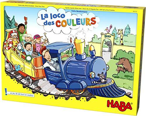 HABA 303737 – Det färgglada lokomotivet | Samhällsspel med stor pusselplatta, kull, tåg, 24 stenar för passagerare, 3 meddelanden och 4 stopp | leksak från 3 år