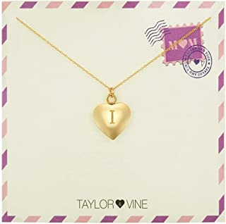 Taylor & Vine Mom Love Letter Initial Necklace Heart Pendant Engraved Love You Mom Gold Tone 16
