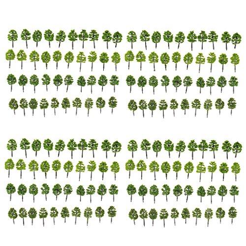 MonkeyJack Pack/160pcs Model Trees 1:250 Z Scale Layout Train Scenery w/ Assorted Color