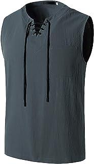 Men's Sleeveless T-Shirt Linen Drawstring V-Neck Tee Hip Hop Yoga Vest