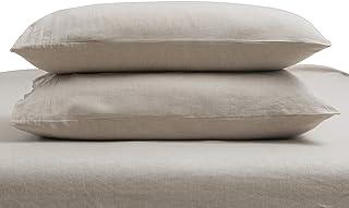 أغطية وسائد TOSMO من الكتان الخالص زوج واحد، 100% أغطية وسائد سرير من الكتان الطبيعي الفرنسي (King، 2 كيس وسادة) - طبيعي