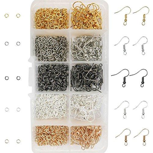 toaob 5Colours Earring Ear Wire Hook Dangle Earrings, 5COLOURS Open Jump Rings for DIY Earrings Jewellery Making
