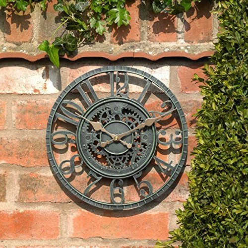 Garden Mile® Large 30cm Vintage Open Face Blue Slate Effect Weatherproof Outdoor indoor Garden Wall Clock Decorative Fence Garden Ornament (Blue Slate Effect Open Face 30cm Clock (GCLOCK7))