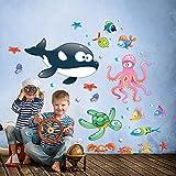 wall art - Adesivo da Parete per Bambini con Motivo abisso Marino colorato 2, Multicolore, 30x 120 cm, R00195