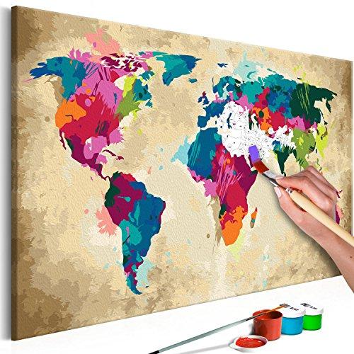 murando - Malen nach Zahlen Weltkarte 60x40 cm Malset mit Holzrahmen auf Leinwand für Erwachsene Kinder Gemälde Handgemalt Kit DIY Geschenk Dekoration n-A-0275-d-a