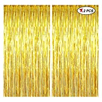 PACKAGE INCLUDES: 2PC OF GOLDEN FOIL CURTAIN Size: 3Ft by 6FT, 3Ft is the width and 6ft is height Material: the foil curtain backdrop is made of tinsel with shiny surface. HOW TO USE: put double tape behind and stick to the wall. Perfect for various ...