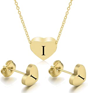 CULOVITY Heart Initial Necklaces Earrings for Women Girls - 18k Gold Filled Stainless Steel Heart Pendant Letter Necklace ...