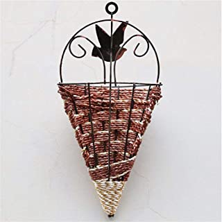 Creative Design Home Art Wall-mounted Flower Pot, Green Plant Wall Conical Flower Pot Flower Stand Decoration (Color : Brown)