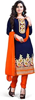 LUGDA Vastra Women's Cotton Embroidery Semi-stitched Salwar Suit (Navy Blue, Free Size)