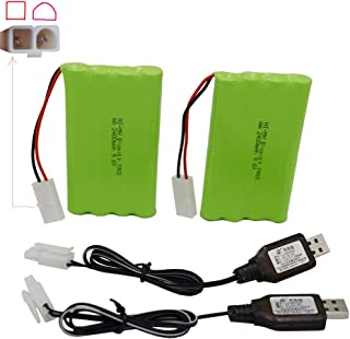 Blomiky 2 Pack 9.6V 2000mAH NiMH Rechargeable AA Battery Packs with Standard Tamiya Connectors Plug and USB Charge Cable for RC Tank Car Truck and Vehicles 9.6V Tamiya 2