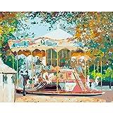Pintar por Números Niños DIY Pintura óleo Pintura Niños Kit Niños Pintar por Números Principiantes Paint by Numbers Regalo para Niñas 16x20 Pulgadas Sin Marco Carrusel del parque de atracciones