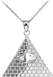 925 Sterling Silver Pyramid Charm All Seeing Eye of Providence Illuminati Pendant Necklace, 18