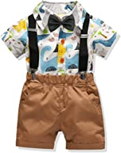 Carlstar Little Boys Gentleman Outfit Suits,Baby Boys Short Pants Set,Short Sleeve Shirt+Suspender Pants+Bow Tie 4Pcs