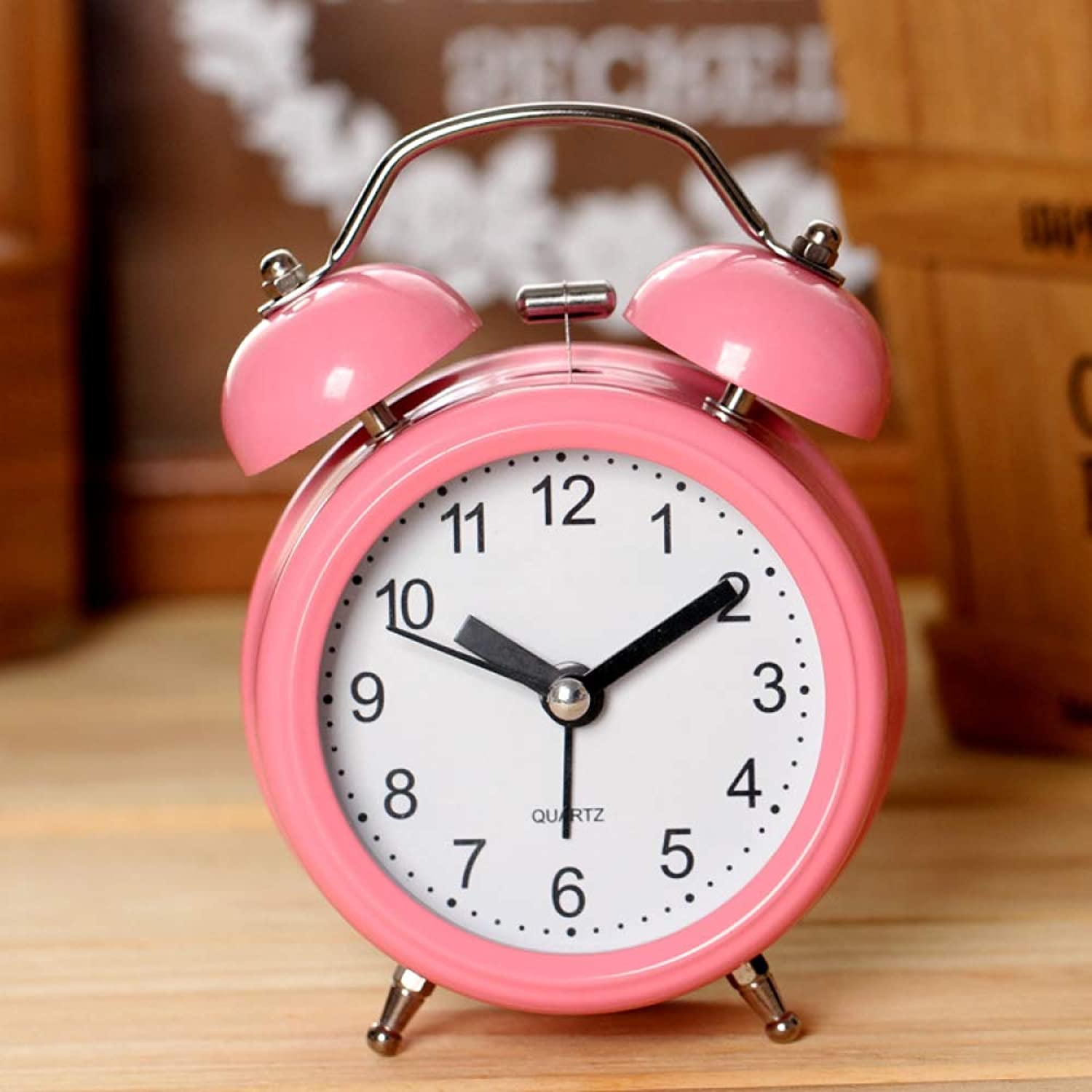 Alarm Clock 3 Inch Mute Sweeping Metal Ringing Alarm Clock with Night Light Bed, Pink