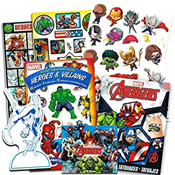 Marvel Avengers Stickers and Tattoos Party Favor Pack  Over 200 Stickers and 50 Temporary Tattoos
