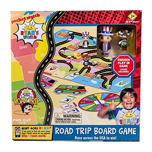 Far Out Toys Ryan's World Road Trip Board Game   Includes Collectible Figurines, Micro Figure Cards, and Surprise Suitcase Tiles   A Journey Through All 50 States! for Ages 3 and Up