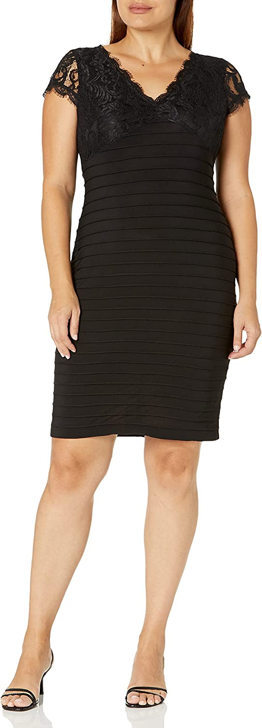 Adrianna Papell Women's Lace Top Banded Sheath Dress