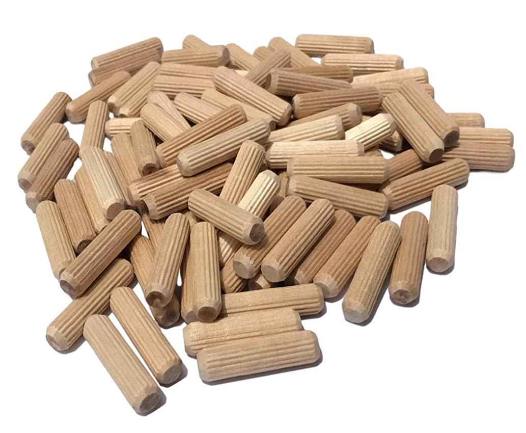 Liyafy 200 Pack (10x50mm) Wooden Dowel Pins Wood Kiln Dried Fluted and Beveled, Made of Hardwood