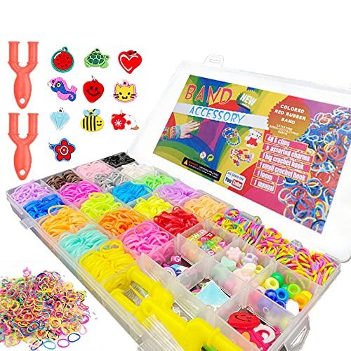 (32 Raster) Loom Bänder Set, Perlen zum Auffädeln, Loombänder Kasten Set, Loom Gummis, 23 Farbschlaufen Gummis + Perlen + Anhänger + Buchstaben + S-förmige Haken Loom Bänder Set