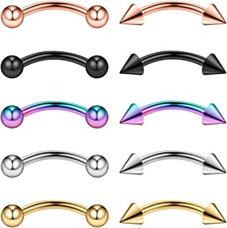 Ruifan 10-16PCS 16G Surgical Steel Eyebrow Ear Navel Belly Lip Ring Body Piercing Jewelry
