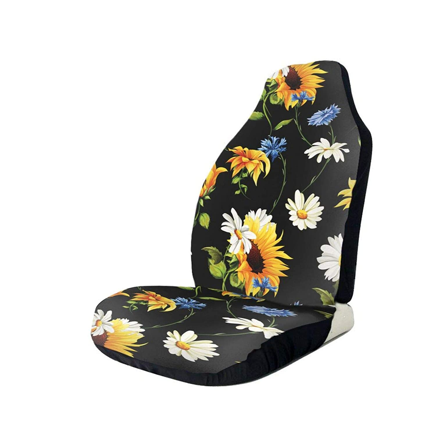 Sunflowers Chamomile Printed Car Seat Covers Front Seats Fit Most Car, Truck, SUV Or Van