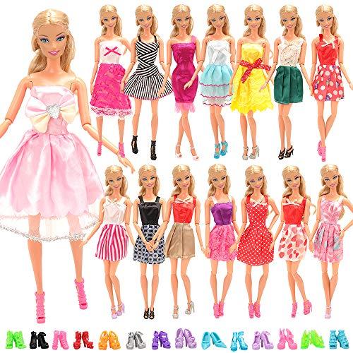 Miunana 22 Accessori Selezionati A Caso per 11.5 Pollici 28 - 30 cm Bambola: 7 Abiti + 5 Vestiti Grandi + 10 PCS Scarpe