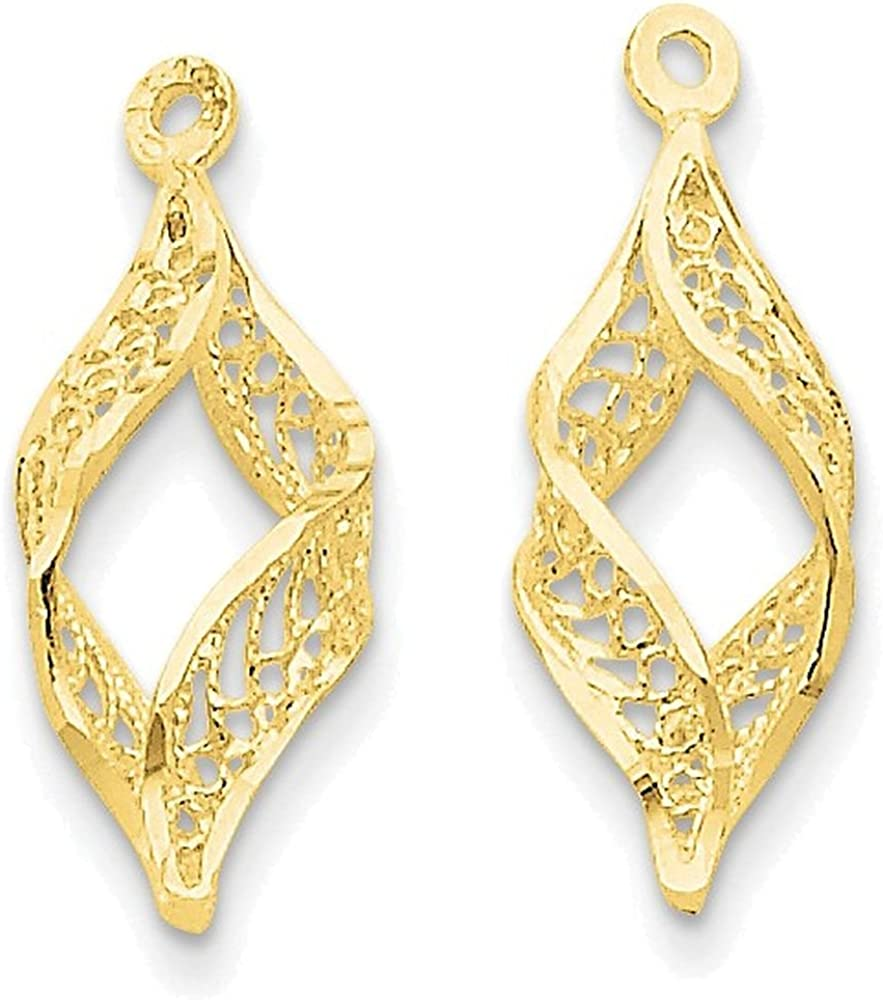 Finejewelers 14k Yellow Gold Polished Filigree Swirl Earring Jackets