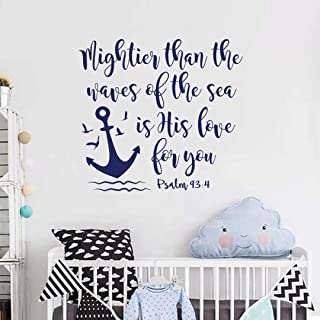 BATTOO Bible Verse Wall Decal Mightier Than the Waves of the Sea Is His Love For You- Scripture Wall Decal Psalm 93:4- Nau...