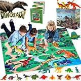 GINMIC Dinosaur Figurines Toys w/ Large Activity Play Mat, Educational Realistic Dinosaur Toys Playset to Create a Dino World, Perfect Dinosaur Gifts for Boy & Girl 3,4,5,6,7,8 Years Old