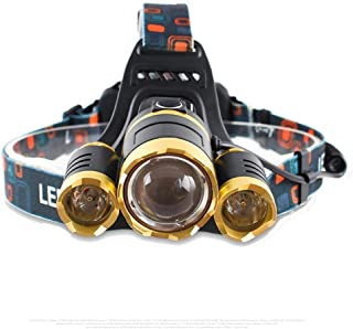 Brightest and Best LED Headlamp 10000 Lumen flashlight - IMPROVED LED, Rechargeable 18650 headlight flashlights, Waterproof Hard Hat Light, Bright Head Lights, Running or Camping headlamps … (Gold)