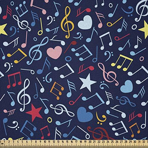 ABAKUHAUS Música Tela por Metro, Ritmo En Mi Diseño Del Corazón, Microfibra Decorativa para Artes y Manualidades, 1M (230x100cm), Multicolor