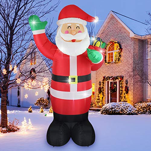 ShinyDec Christmas Inflatable 8 Foot Xmas Santa Claus Carrying Gift Bag Lights Airblown Large Yard Decorations, Red