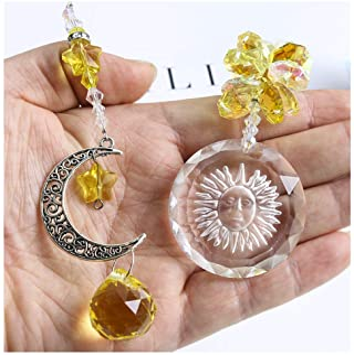 H&D HYALINE & DORA Crystal Ball Star Sun Moon Attached Rainbow Maker - Hanging Crystal Suncatcher Ornament
