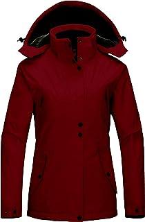 Wantdo Women's Waterproof Winter Coat Warm Fleece Puffer Jacket Thicken Windbreaker with Removable Hood