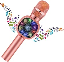 Bluetooth Karaoke microphone, Portable Karaoke Player Speaker For Apple Android Smartphone Or PC, with Flash LED Color-Light Home KTV Outdoor Party Music Playing Singing Anytime(Rose-pink)