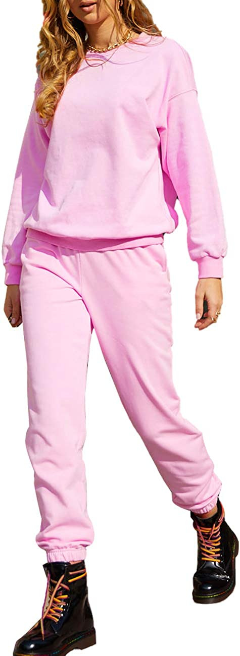 GiniMoli Women Sweatsuits Casual 2 Piece Outfit Long Sleeve Workout Athletic Tracksuits Activewear Pajamas Lounge Sets