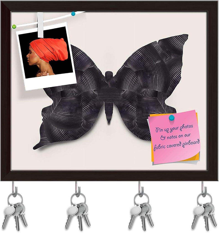 Artzfolio Black Butterfly Key Holder Hooks   Notice Pin Board   Dark Brown Frame 19.5 X 16Inch