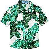 SSLR Big Boy's Floral Cotton Casual Button Down Short Sleeve Hawaiian Shirt (Medium (10-12), White (118-66))