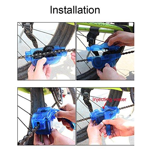 Yizhet Fahrrad Kettenreinigungsgerät Fahrradkettenreiniger Reinigung Scrubber Pinsel-Werkzeug im Set für Kettenreinigung Schnelles Sauberes Werkzeug Cycling Bike Bicycle Chain Cleaner - 6