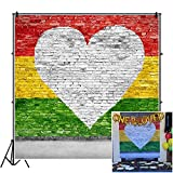 CSFOTO 8x8ft Brick Wall Love Reggae Backdrop White Heart Yellow Green Red Striped Painted Wall One Love Birthday Party Background for Photography Baby Shower Birthday Photo Vinyl Wallpaper